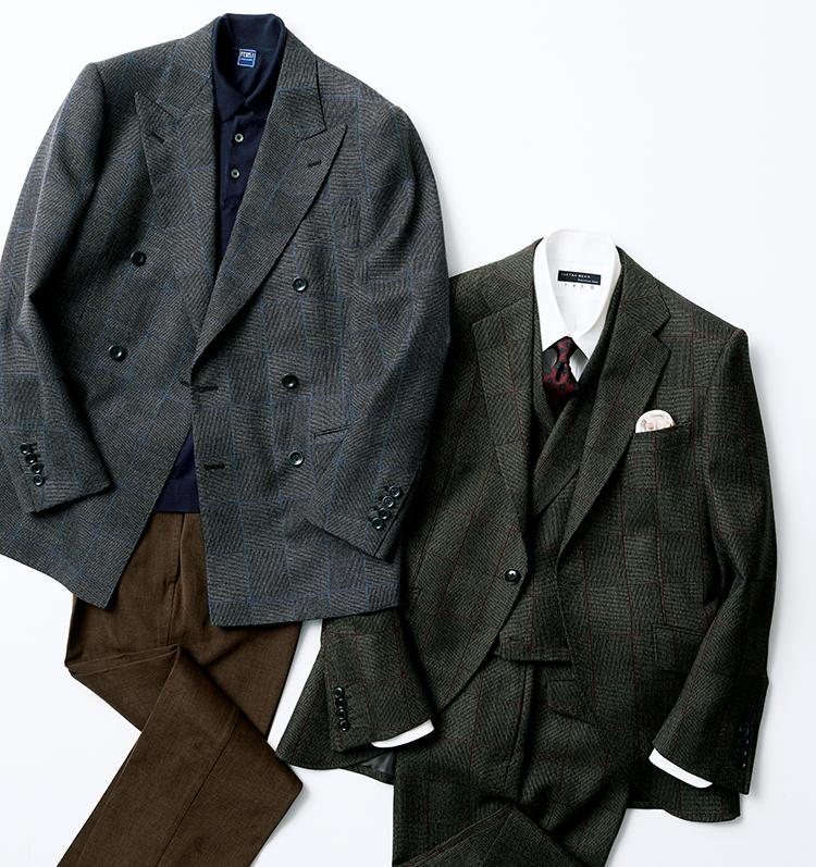 マルゾットの「ファブリカ アルタ」を使用したスーツのコーディネート