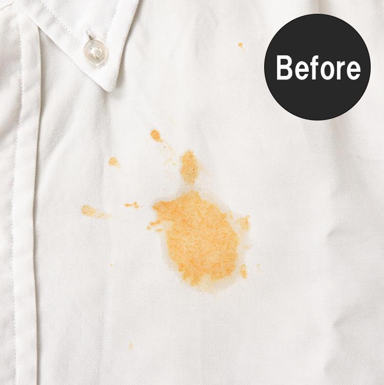 応急処置で落ちない汚れにはより強力な洗剤を。洗浄力の強い固形漂白剤とさらに染み汚れに効く液体ケア剤でつくるザ・ランドレスの特製ペーストなら、大きな染み汚れも完璧に落とすことができる。