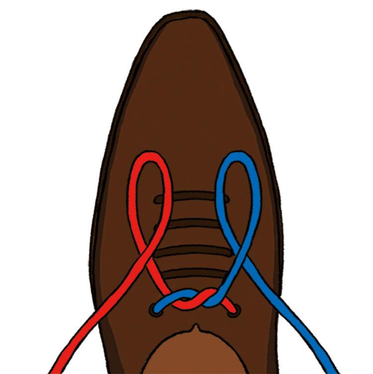 <b>2|靴の前側で左右に輪を作る</b><br />蝶結びでは片方のみ輪を作るが、イアンノットは両方を輪に。左側を左手で、右側を右手で持つ。