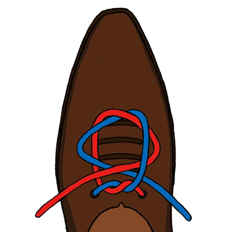 <b>4|そのまま外側へ引っ張っていく</b><br />輪を交差させるように通し、そのまま外側へ引いていくと、中央で結び目ができる。