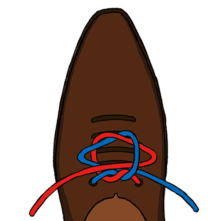 <b>5|緩まないように注意しながら</b><br />ギュッと引いてしっかり結ぶ。このとき、最初の結び目が緩まないように注意すべし。