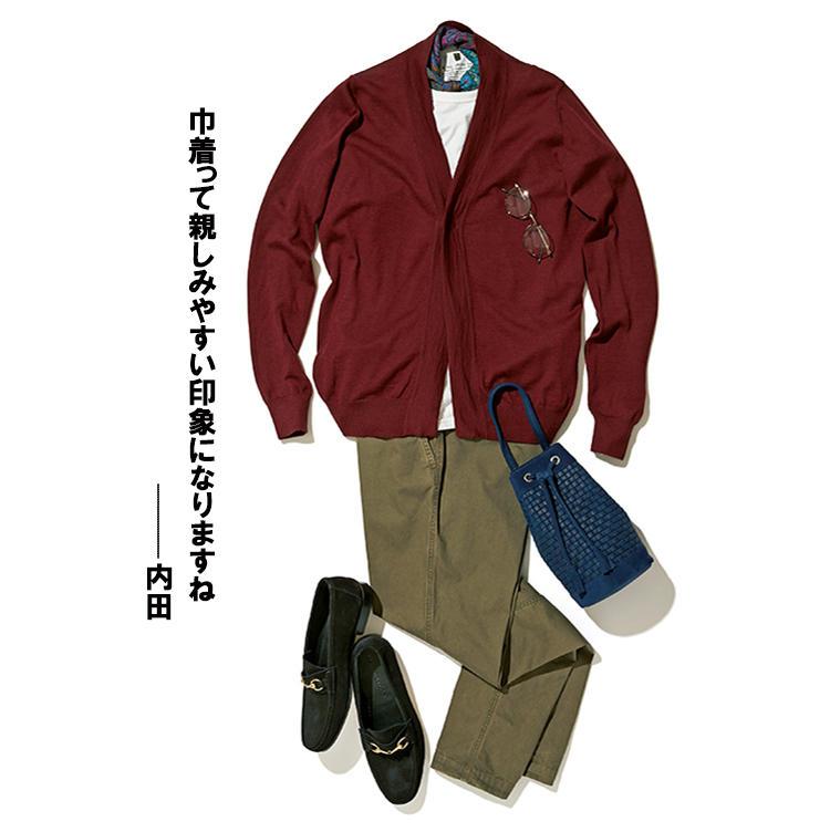 <b>鞄:マッシモ</b><br />「ジャケットよりも、カーディガンやニットなど、リラックス感のあるコーデと相性抜群です」(四方さん)。カーディガン3万5000円/パニカーレ、パンツ3万8000円/ストーンアイランド(以上トヨダトレーディング プレスルーム) カットソー1万4000円(3Pパック)/ナイジェル・ケーボン(アウターリミッツ) スカーフ1万6000円/ピエール=ルイ・マシア(ラ ガゼッタ 1987 青山店) メガネ2万8000円/モスコット(モスコット トウキョウ) 靴3万円/イル モカシーノ(シップス 銀座店)