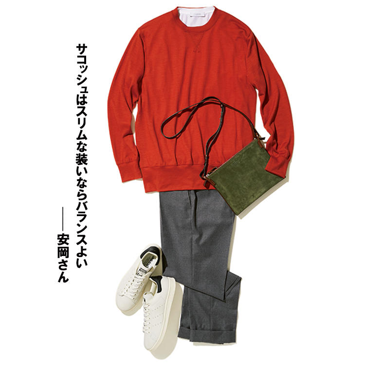 <b>鞄:ダニエル&ボブ</b><br />「細いストラップと薄マチは、クルーネックのニットなど、スポーティかつシンプルな装いに合います」(四方さん)。ニット2万8000円/バーニーズ ニューヨーク(バーニーズ ニューヨーク) カットソー2万3000円/クルチアーニ(ストラスブルゴ) パンツ3万6000円/インコテックス(シップス 銀座店) 靴1万4000円/アディダス オリジナルス(アディダスグループお客様窓口)