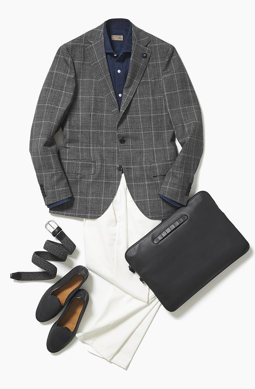 <b><font color='red'>阪急メンズ東京</font><br />やっぱり便利! 上下別々でも着られるセットアップのスーツの着回し力</b><br />月曜日に着用したスーツのジャケットが再登場。上下ばらしても着られるこんなスーツは、頻繁に着ても意外に見破られにくい。 <br />「ほぼ月曜日と同じコーディネートです。違いはデニムシャツ×ホワイトパンツで、程よくカジュアルダウンした点。ダークカラーの面積が広いので、デニムシャツの白ボタンと白いパンツの色をリンクさせてすっきり見せました」(サードスタイルスタッフ井上章さん) <br /><a class='u-link--ex' href='https://www.mens-ex.jp/fashion/feature/190530_11189.html' target='_blank'>コーディネートの詳細はこちら</a>