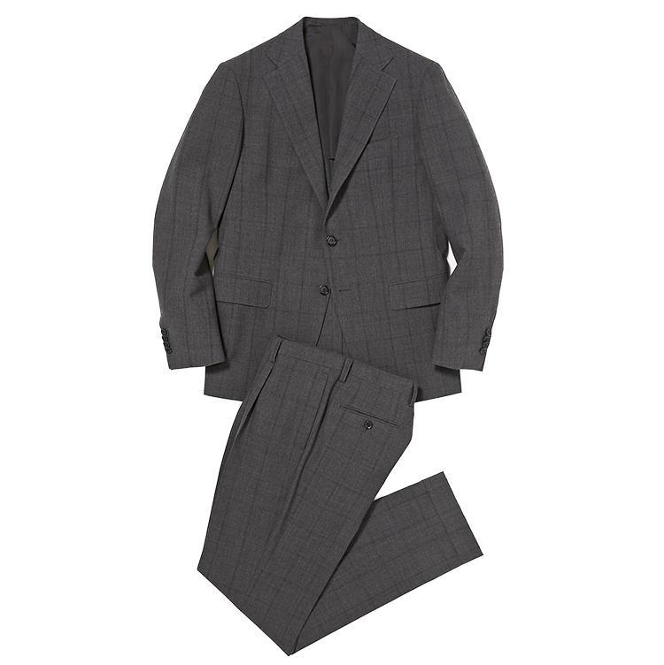 <b>1.ストラスブルゴのウインドウペーンスーツ</b><br />シワや蒸れに強いフレスコ素材の軽量スーツ。控えめなグレーチェックは柄物スーツ初心者におすすめ。12万円(ストラスブルゴ)