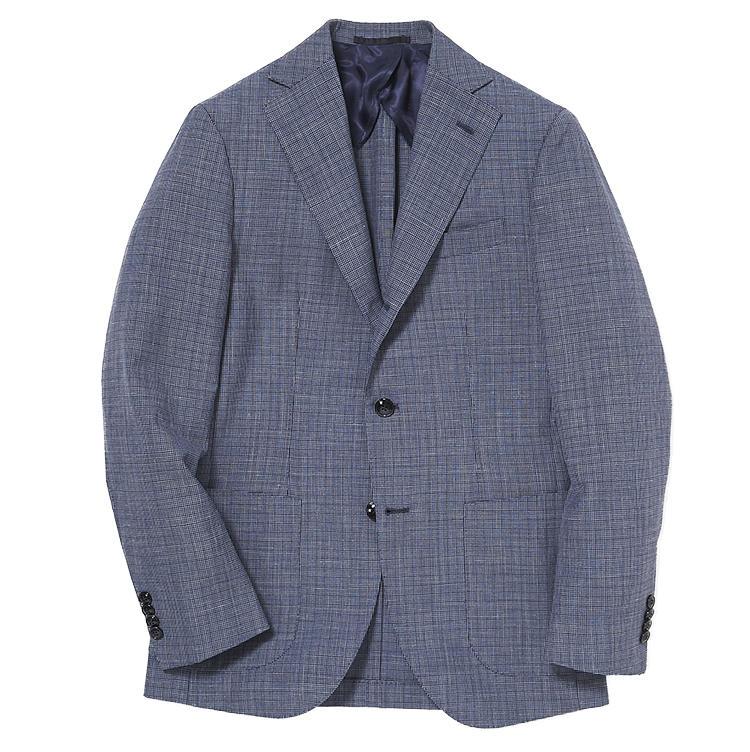 <b>3,バルバのチェックジャケット</b><br />青のチェックジャケットは涼しくてきちんと感もある、ウール・シルク・リネンの三者混素材。10万1000円(ストラスブルゴ)