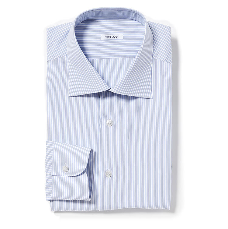 <b>5.フライのストライプシャツ</b><br />美しい襟に定評のあるフライ。青×白のストライプのオックスフォードシャツはありそうでない色柄。5万4000円(ストラスブルゴ)