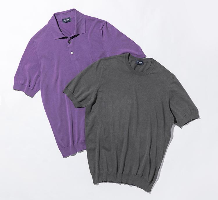 強撚糸のニットポロは、シャリっとした感触で肌触りも心地よい。半袖ニットポロ3万円、半袖クルーニット2万3000円(以上バインドピーアール)