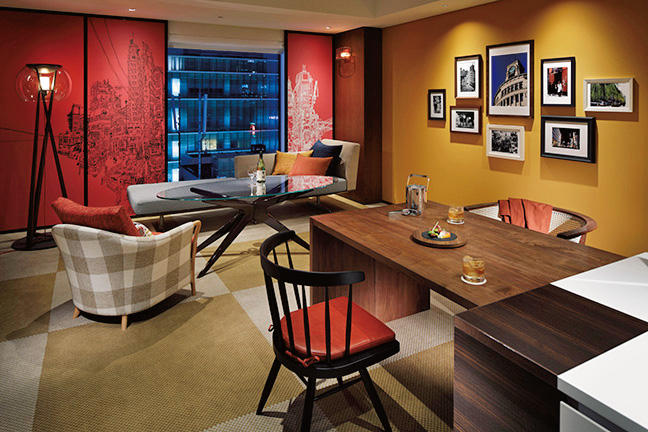 客室の一例。ほかにテラス(45Ⅱ)とキッチンダイニングが据えられたスイートルームもある。