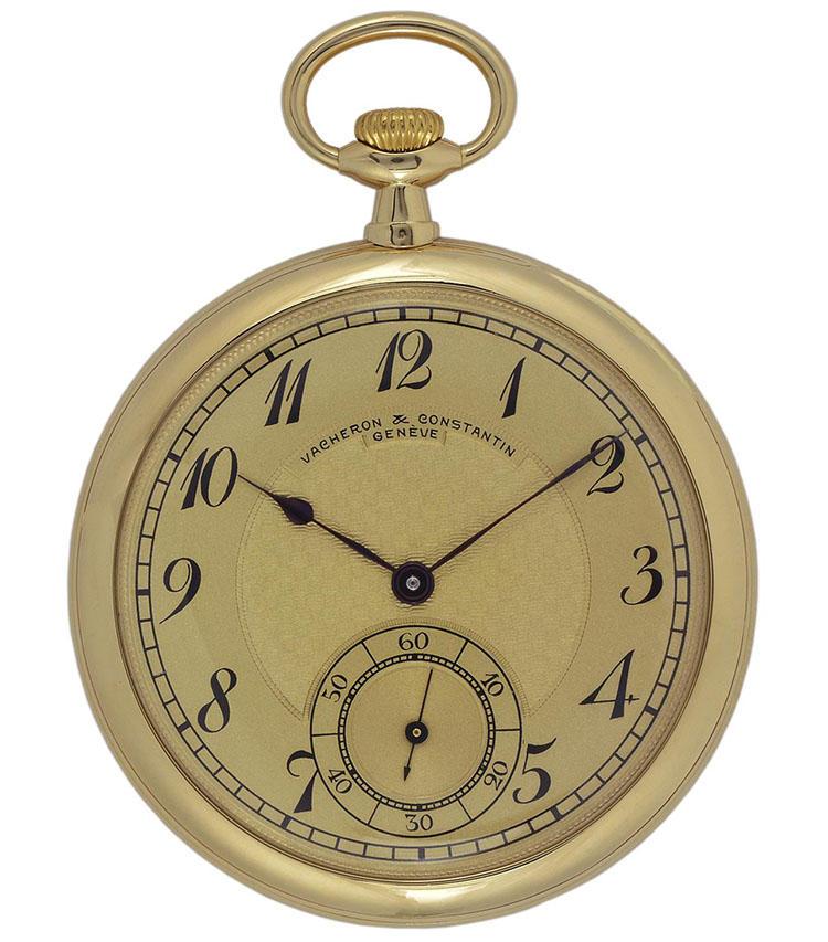 製造年:1911年、ケース素材:18Kイエローゴールド、ケースサイズ:47mm、6時位置にスモールセコンド、価格147万5000円