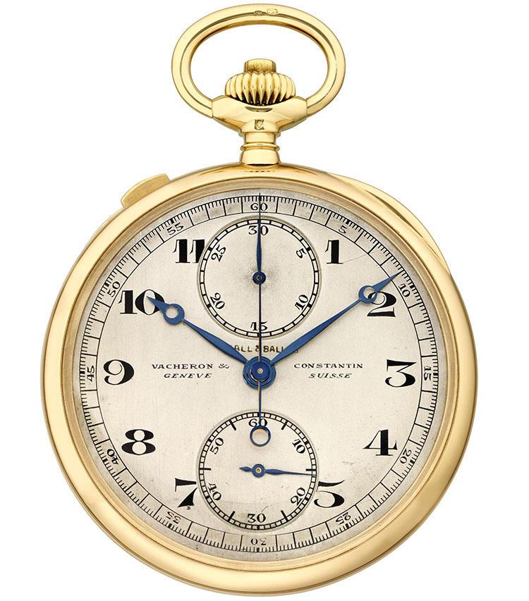 製造年:1924年、ケース素材:18Kイエローゴールド、ケースサイズ:44mm、スプリットセコンド・クロノグラフ懐中時計、価格625万円