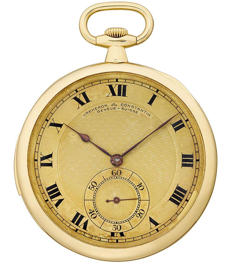 製造年:1915年、ケース素材:18Kイエローゴールド、ケースサイズ:47mm、ミニット・リピーター搭載の懐中時計、価格677万5000円