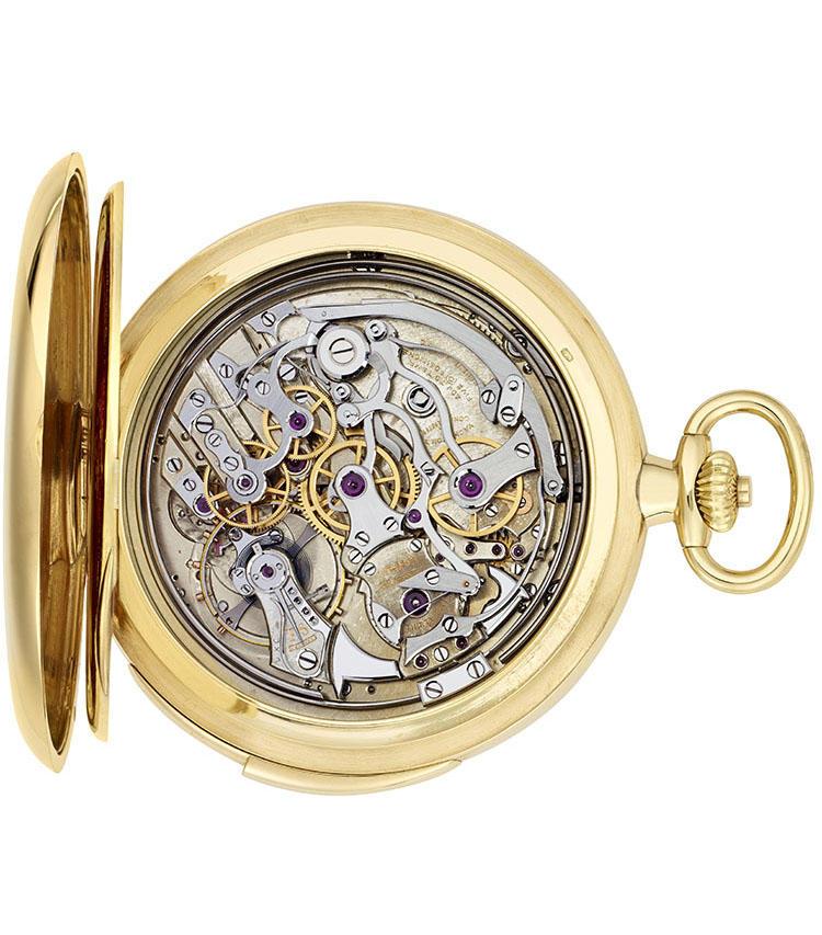 製造年:1925年、ケース素材:18Kイエローゴールド、ケースサイズ:49mm、ミニット・リピーターを搭載したクロノグラフ懐中時計、価格937万5000円