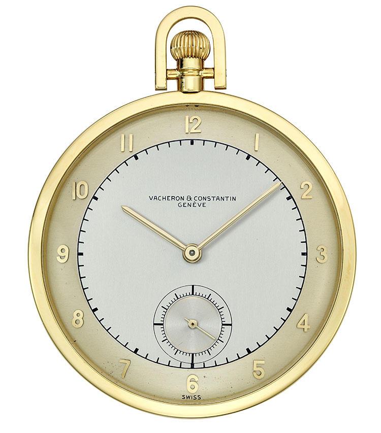 製造年:1949年、ケース素材:18Kイエローゴールド、ケースサイズ:48mm、ツートーンのシルバーダイヤルの懐中時計、6時位置にスモールセコンド、価格125万円