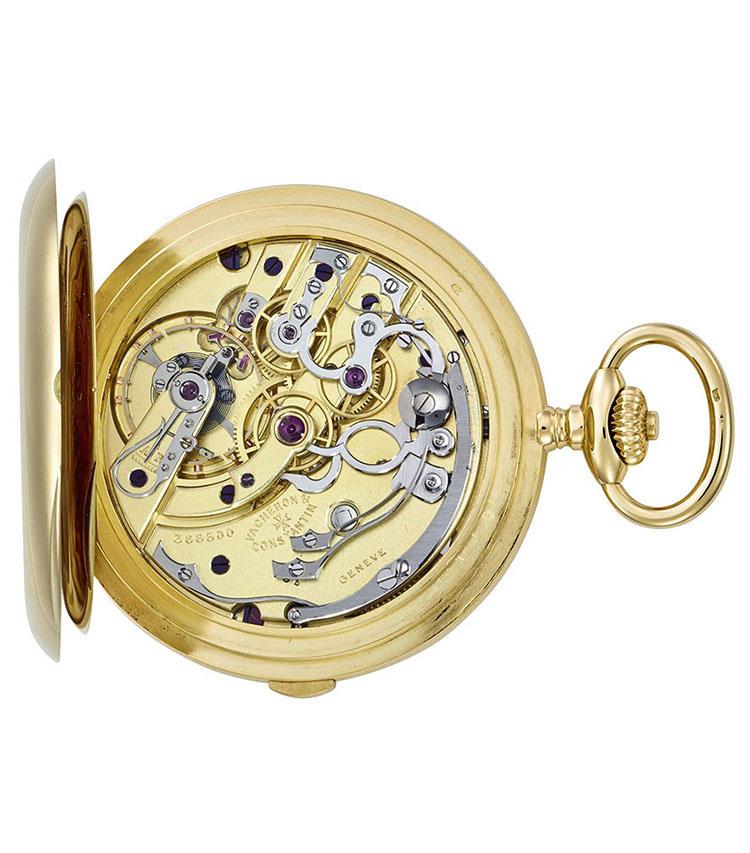 製造年:1922年、ケース素材:18Kイエローゴールド、ケースサイズ:49mm、ハンティングケース、クロノグラフ懐中時計、価格522万5000円