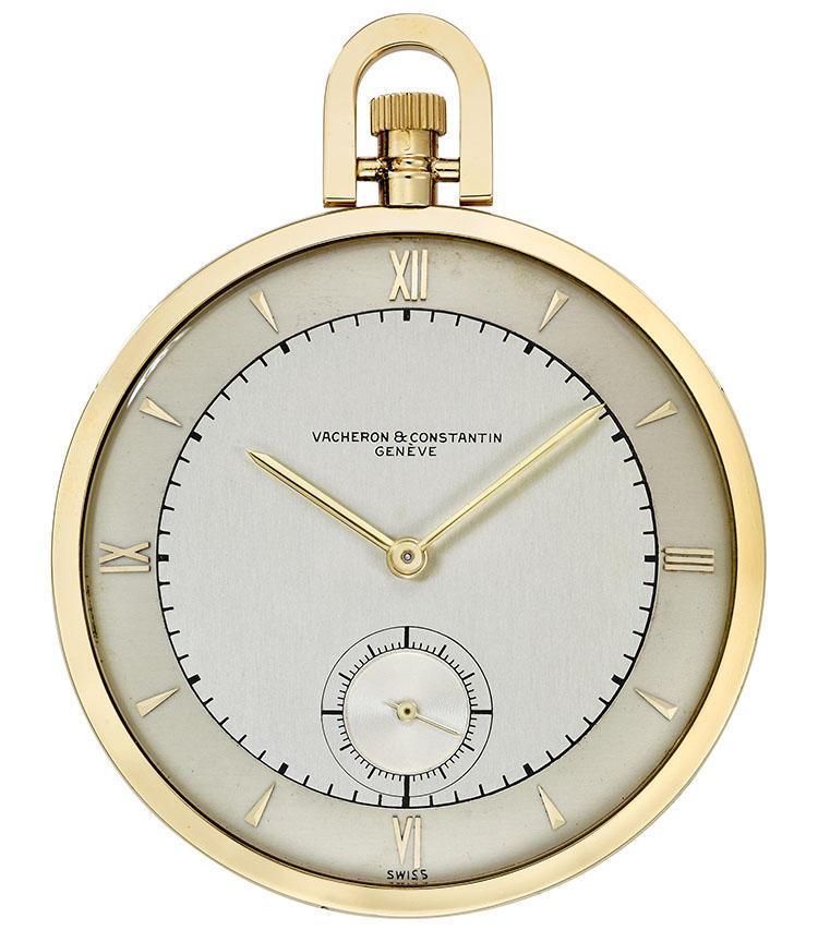 製造年:1949年、ケース素材:18Kイエローゴールド、ケースサイズ:48mm、ツートーンのシルバーダイヤル懐中時計、6時位置にスモールセコンド、価格137万5000円