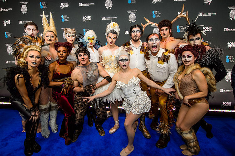 Cast Members of 2018 One Night for One Drop imagined by Cirque du Soleil