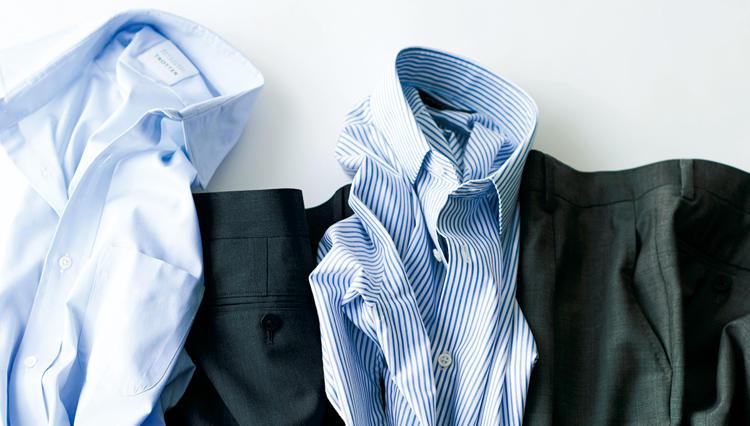クシャッと置いても、パリッと回復。仕事のシャツ&パンツ、「シワなしのシアワセ」。