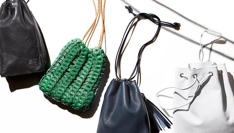 最低限の荷物をお洒落に持つ旬の方法、メンズ巾着バッグ4選