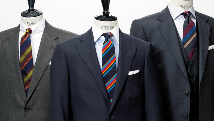 1点挿しで無地スーツが映えるのは「こんなストライプ」柄ネクタイ
