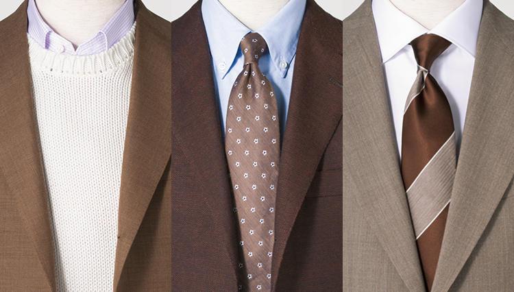 シャツ×ネクタイタイのコーデの引き出しを増やす「ビズ・ブラウン」 の胸元実例15