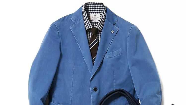 明るいブルーのジャケット、仕事で着るならどう合わせる?【スーツの着回し1週間チャレンジ!/ジェンテ ディ マーレ編#2】