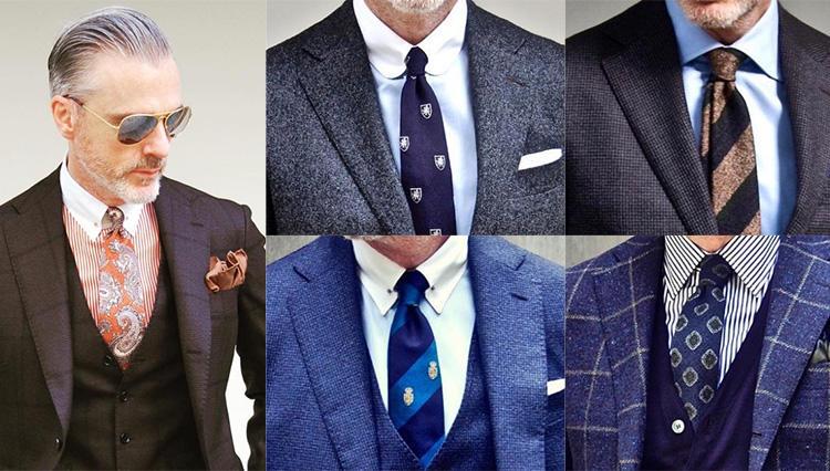 「定番色のスーツを、いつもよりお洒落に見せるテクニック」【Mr.Davidに学ぶ胸元10の実例】