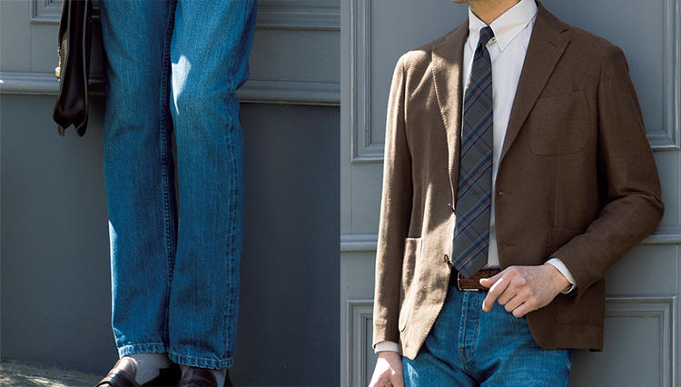 ジャケットに似合うジーンズは、こんな色!