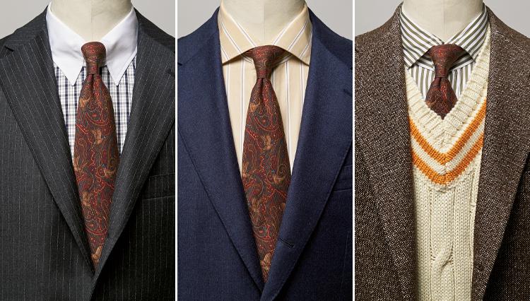 最旬「ボルドーのペイズリータイ」はスーツにどう合わせる?