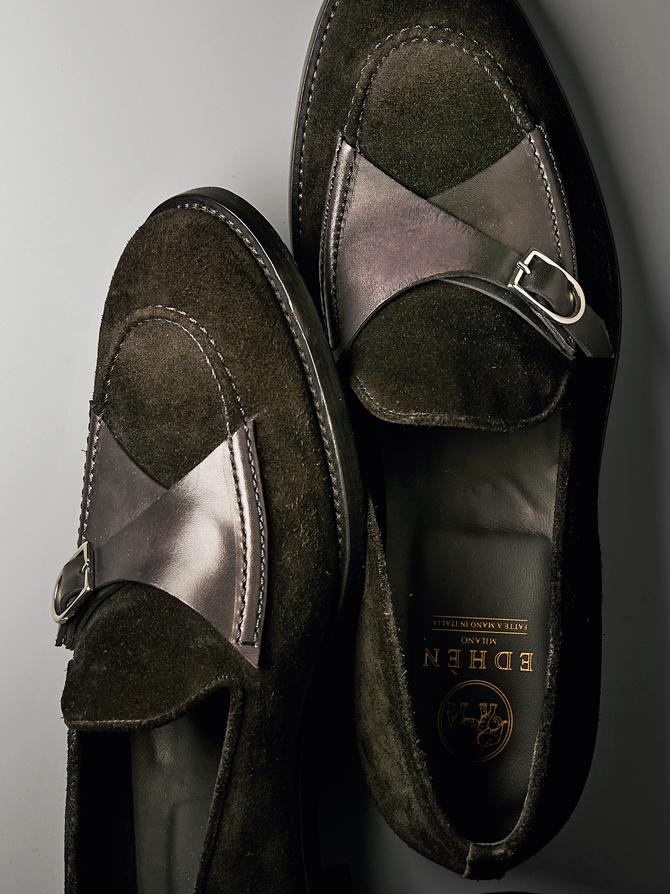 <p><strong>【EDHÈN MILANO / エデン ミラノ】<br />バックル×ローファーという新機軸</strong><br /> ミラノ発の新鋭ブランドは、ローファーにモンクストラップのようなバックルをあしらったデザインがアイコン。イタリアらしくスマートな印象だが、シェイプは英国靴を思わせるクラシックなラウンドトウ。この塩梅も今どきだ。7万5000円(シップス 銀座店)</p>