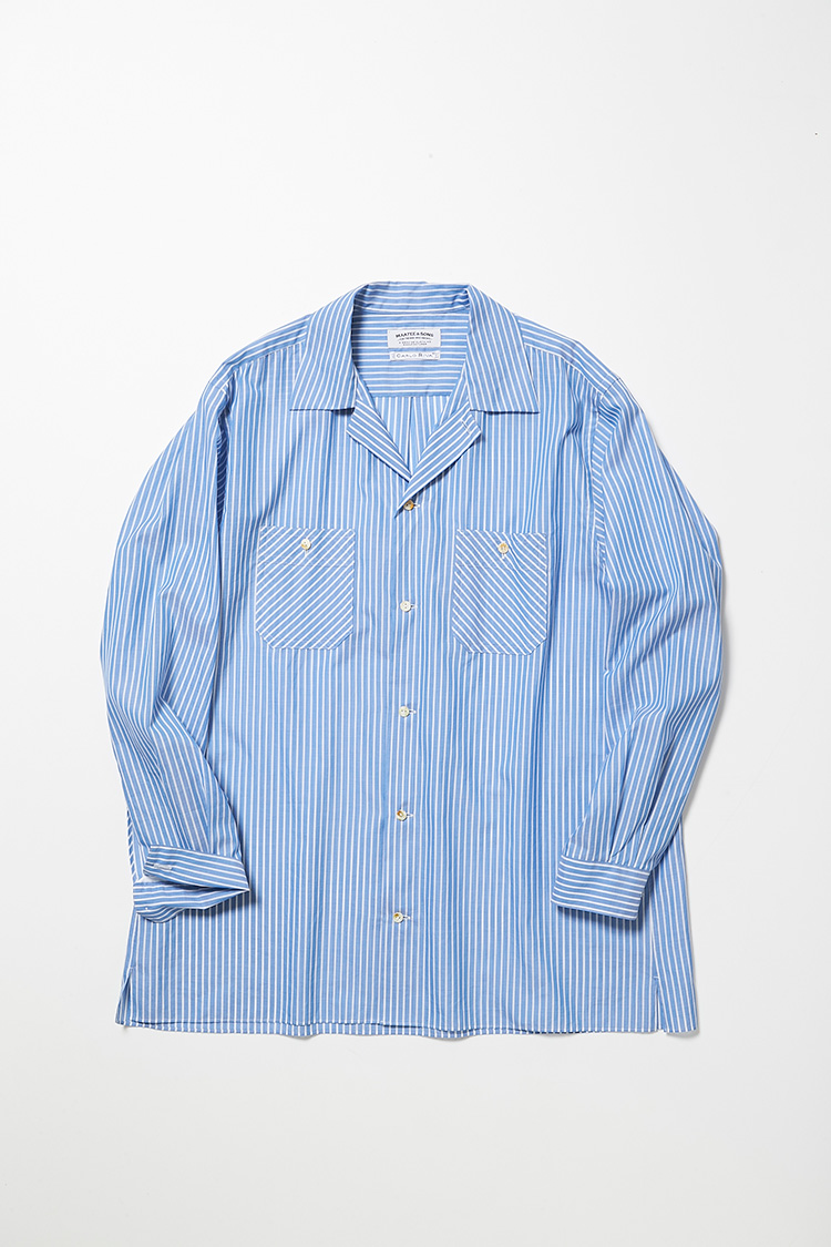 <p><strong>マーティー アンド サンズ</strong><br />縫製やパターンにこだわった、2019年春夏スタートの注目ブランド。イタリアのカルロ・リーバ社の高級生地によるブルーストライプシャツは、芯地を全く使わず、あえてラフに仕立てているのが特徴。素肌に1枚でも着るもよし。シャツやカットソーの上に羽織っても存在感を発揮する。7万5000円(フィギュア インク)</p>