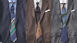 いつもの無地スーツがお洒落に激変!「パネルストライプ」柄ネクタイの胸元実例集
