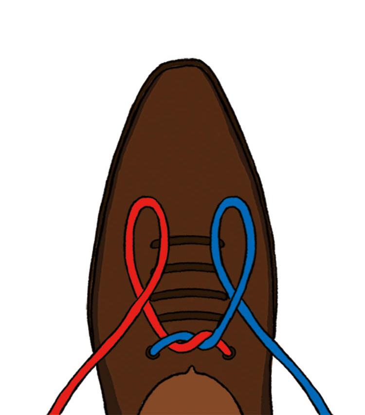 <p><b>2|靴の前側で左右に輪を作る</b><br />蝶結びでは片方のみ輪を作るが、イアンノットは両方を輪に。左側を左手で、右側を右手で持つ。</p>