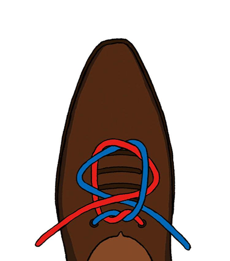 <p><b>4|そのまま外側へ引っ張っていく</b><br />輪を交差させるように通し、そのまま外側へ引いていくと、中央で結び目ができる。</p>
