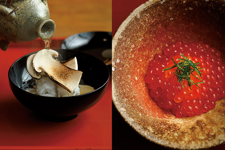 <p>右:醤油に漬けたいくらの飯蒸し。あしらいは演出よりも使う意味のあるものだけを選び、色と香りを生む柚子のみ。<br />左:鱧の落しと焼き松茸をまず味わい、途中、さまざまなきのこでとった出汁をかけて椀物として楽しむ、大渡スタイルの土瓶蒸し。</p>
