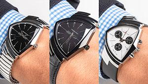 セレブも愛する三角腕時計「ベンチュラ」の新作5本、ぜんぶ腕に乗せて比べた!