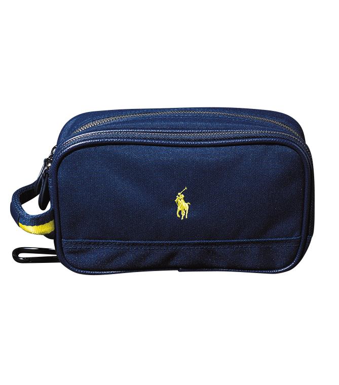 <p>小物収納用のラウンドポーチ。カラビナ付きで、ゴルフバッグに取り付け可能。1万円</p>
