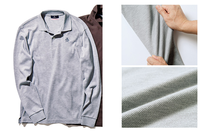 <p>東洋紡の特殊紡績糸「マナード®︎」は、艶やかな風合い。兵庫で編み、和歌山で染色したもの。<br /> <span style=