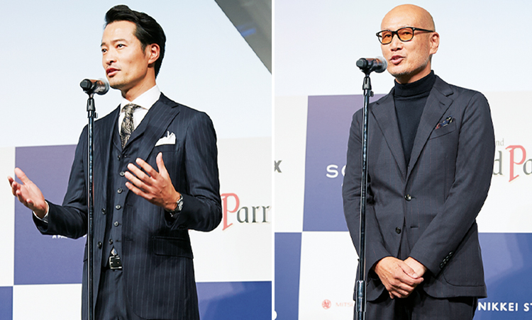 <p>MEN'S EXでもお馴染みのお2人もステージに登場。前川泰之さんは特別賞のプレゼンターとして。森岡 弘さんには総評をいただいた。</p>