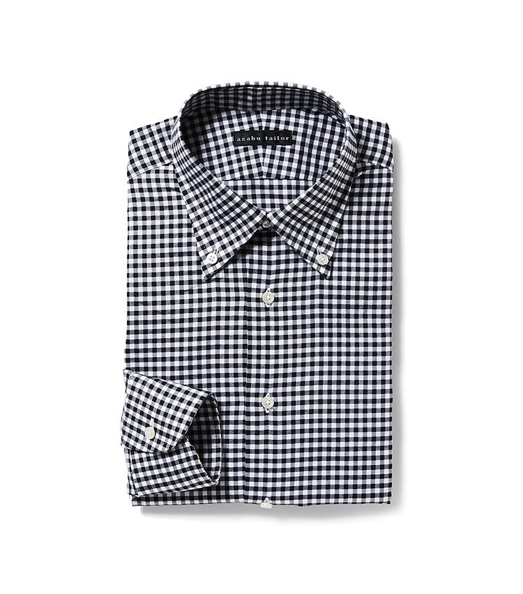 <p><strong>5.麻布テーラーのギンガムチェックシャツ</strong><br /> ビジネスシーンでギンガムチェックを取り入れるなら、黒を基調としたボタンダウンシャツなら落ち着いた印象を構築できる。オーダーシャツは7000円〜、納期は約4週間。9900円〈オーダー価格〉(麻布テーラースクエア二子玉川店)</p>