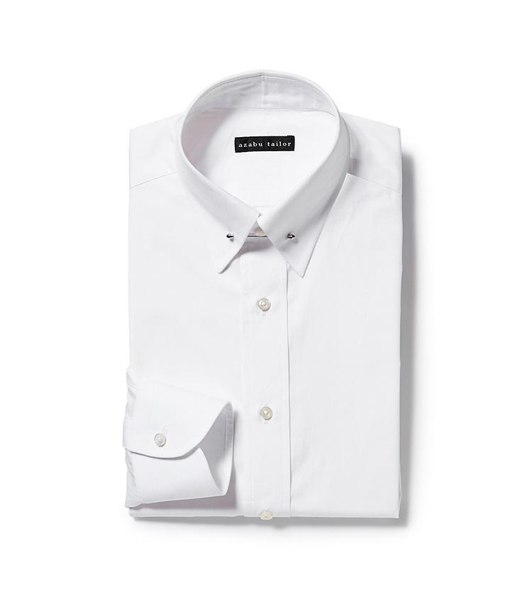 <p><strong>6.麻布テーラーのピンホールカラーシャツ</strong><br /> クラシックかつドレッシーな印象に導けるピンホールカラーのシャツ。麻布テーラーなら自分の首まわりに合わせて、ジャストサイズでオーダーできる。1万円〈オーダー価格〉(麻布テーラースクエア二子玉川店)</p>