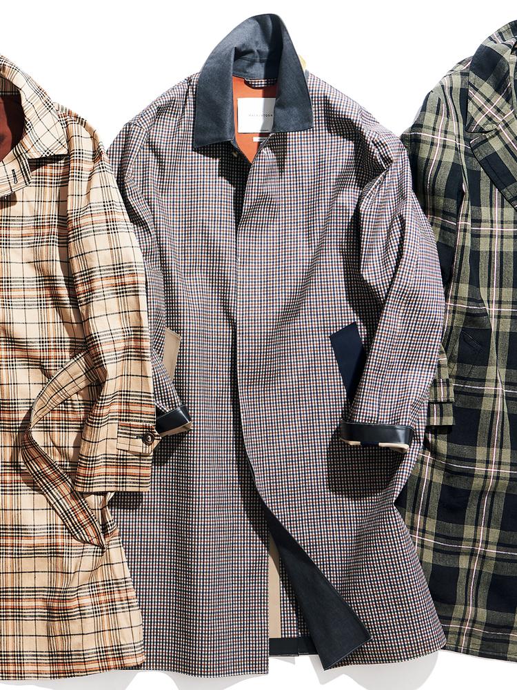 <p><strong>MACHINTOSH / マッキントッシュ</strong><br /> カントリーテイスト溢れるチェックのゴム引きクロスを用いた「ダンカン」。ポケット口の色が左右で異なるなど、遊び心が光る一着だ。ゆとりを設けたシルエットには、大人の余裕が滲む。19万8000円(マッキントッシュ青山店)</p>