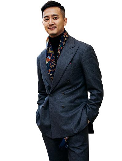 <p><strong>「アーモリー」共同設立者<br /> アレン・シー氏</strong><br /> 香港とニューヨークで営業するセレクトショップ「アーモリー」の共同設立者。アメリカ、イギリス、中国など様々な国で居住経験をもつ国際派。</p>