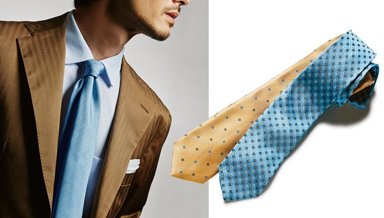 いつものスーツが華やかに!「ペールトーンのネクタイ」胸元実例6