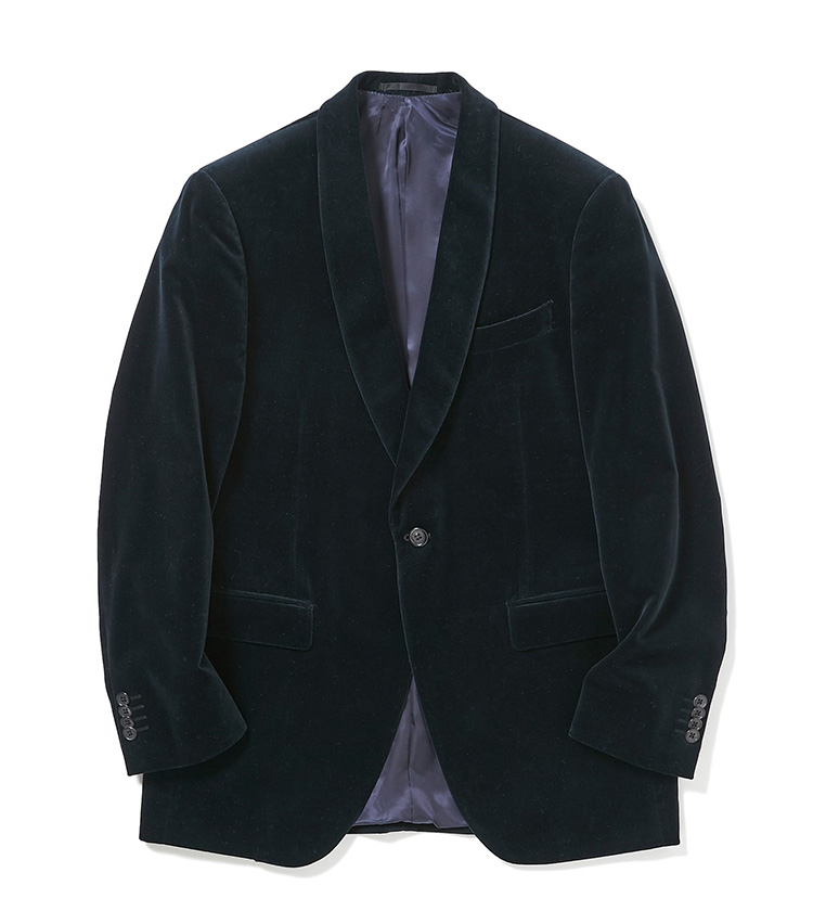 <p><strong>4.麻布テーラーのベルベットジャケット</strong><br /> 2、3と同じ「ジェットクルーズ」モデルのショールカラージャケットは、軽快な仕立てで仕事をしない休日にも着回しやすい。素材は冬らしいベルベット。季節感は洒脱に見せるのに有効な要素だ。4万4000円〈オーダー価格〉(麻布テーラースクエア二子玉川店)</p>