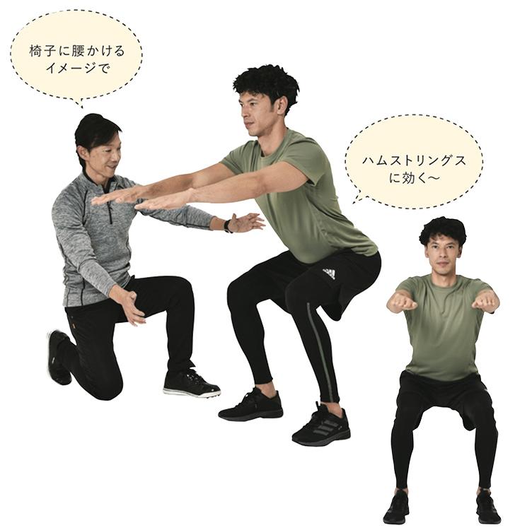 <p><strong>2.</strong>背すじは伸ばしたまま、お尻を後ろに大きく突き出すようにゆっくりと膝を曲げていく。太ももが床と平行になるところまで曲げたら、5秒間かけて膝を伸ばして立ち上がる。</p>