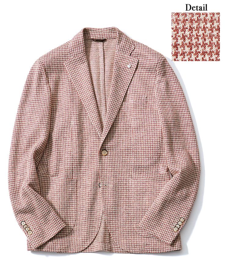<p><strong>L.B.M. 1911 / エルビーエム 1911</strong><br /> カーディガン感覚で着られるジャージー生地のシリーズ「ダンディジャケット」より。リネン100%の白×ピンク千鳥で、サラリとしつつ柔らかさも兼備した独特のタッチだ。背抜き仕立てともあいまって、爽快な着心地。9万4000円(トヨダトレーディング プレスルーム)</p>
