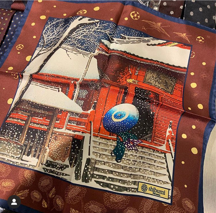 <p><strong>17.  Shibumi Firenze silk pocket square / シブミ フィレンツェのシルクポケットチーフ</strong><br /> I had to pick this silk pocket square depicting a traditional Japanese scene with the thought of keeping the Japanese spirit close to my heart.</p> <p><small>私が、日本の心を大切にしている証拠として、日本の伝統的なシーンを描いているこのシルクのポケットチーフを選びました。</small></p>
