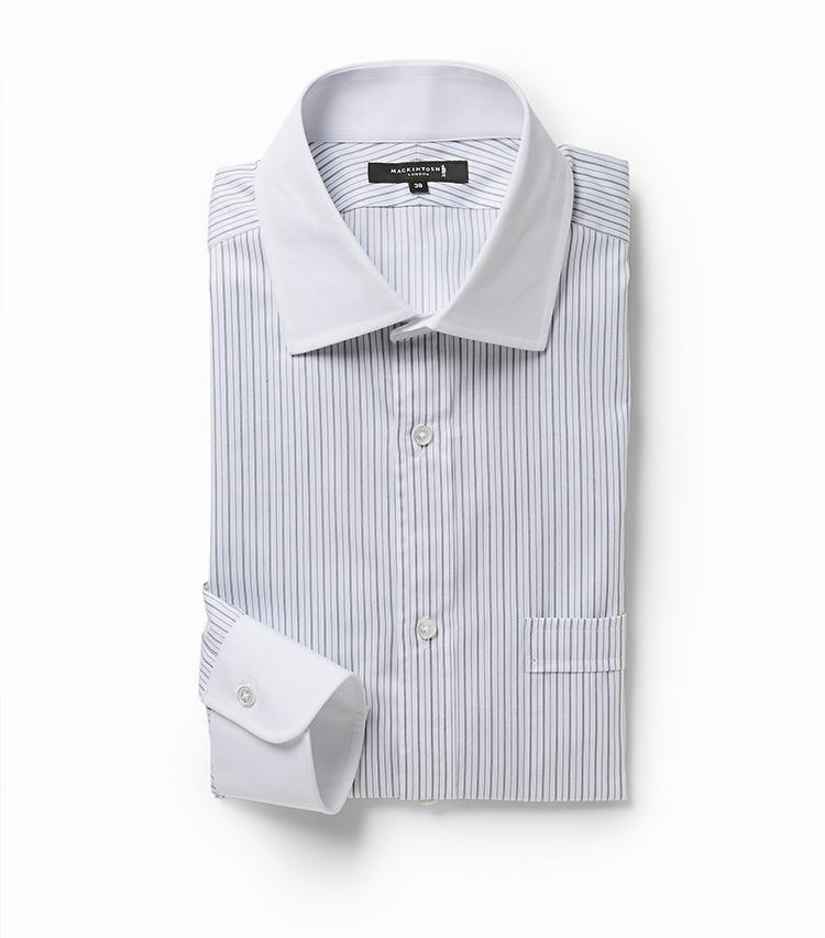 <p><strong>10.クレリック ドレスシャツ</strong></br>英国ブランドらしいセミワイドカラーのクレリックシャツは、細めのラインで構成されたオルタネイトストライプが上品な印象。襟やカフスの白とコントラストが付きすぎないので、さりげなく洒脱なVゾーンを構築できる。ほのかに光沢のある生地で高級感も発揮しつつ、ネック内側とアームホール下側に消臭テープを配して機能性もプラス。1万6000円<br /><a class=