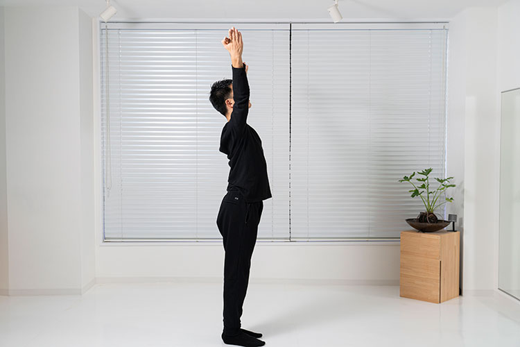 <p>棒を逆手に持ち、そのまま頭上に上げて、手を広げる。</p>